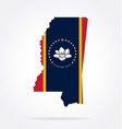 mississippi ms flag in state shape vector image vector image