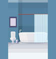 modern bathroom toilet and bathtub furniture no vector image