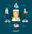 oculist eye care poster vector image vector image