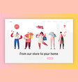 people characters making shopping online sale vector image vector image