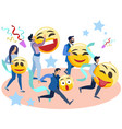 people run with smiles in their hands in vector image vector image