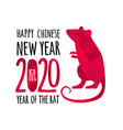 red rat symbol chinese 2020 new year flat vector image vector image