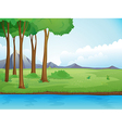 River and a tree in beautiful nature vector image vector image