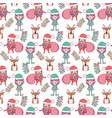 santa claus with bags and helpers pattern vector image vector image