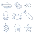 Seafood fish and underwater animals linear icons vector image
