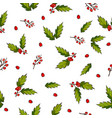 seamless christmas pattern with holly berry vector image