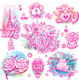 set love sketchy vector image vector image
