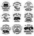 set taxi service emblems design element vector image