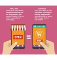 shopping on the phone flat design vector image vector image