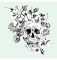 Skull and twigs cotton flower yellow oak leaves vector image vector image