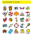 summer color outline icons set on white background vector image