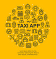 taxi app banner round design template thin line vector image