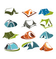 tent icons camping site mountain adventure vector image vector image