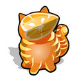 the cat is carved from orange isolated on white vector image vector image