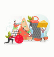 tiny people in chef hats making giant pizza vector image