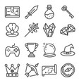 ui icon set gaming line elements set vector image