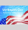 veterans day banner with usa flag vector image vector image