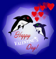 with shark and red valentine hearts vector image