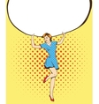 Woman holds blank white paper poster Pop art vector image vector image