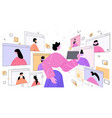 woman using tablet pc discussing with friends vector image vector image