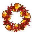 a decorative wreath of dried fruit of physalis and vector image vector image