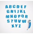 alphabet and cartoon crayon vector image