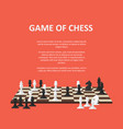 banner with chess pieces on a chessboard vector image vector image