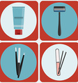 Beauty tools colorful icon set vector image vector image