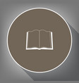book sign white icon on brown circle with vector image vector image