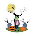 boy with frankenstein costume in the cemetery and vector image