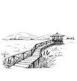 bridge over meadow to watchtower sketch vector image vector image
