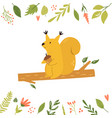 bright floral card with cute squirrel on a branch vector image vector image