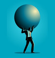 businessman holding a big sphere vector image vector image