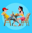 cartoon man and woman talk sitting at a table