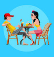 cartoon man and woman talk sitting at a table with vector image