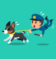 Cartoon security guard policeman with police guard vector image vector image