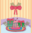 christmas gift box with wreath vector image