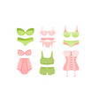 collection lingerie pink and green panties vector image