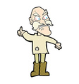 comic cartoon angry old man in patched clothing vector image