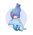 cute mermaid floating with dolphin vector image vector image