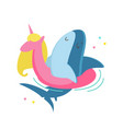 cute shark floating unicorn inflatable ring vector image