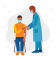 doctor giving vaccination to male patient vector image