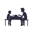 father and son playing chess sit on chairs table vector image