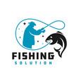 fish fishing logo design vector image vector image
