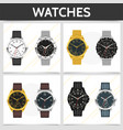 flat classic expensive watches square concept vector image vector image