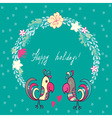 floral frame with cute parrots vector image vector image