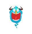 funny horned monster colorful fabulous cartoon vector image