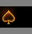 glowing golden glitter spades symbol on black vector image vector image