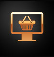 gold computer monitor with shopping basket icon vector image vector image