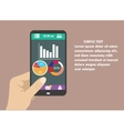 Hand holding smart phone with graphs on modern vector image
